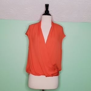 Bebe Sleeveless Silk Draped Wrap Blouse
